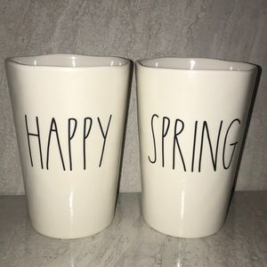 Rae Dunn Happy and Spring cups NWOT